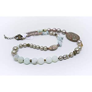 Bohokette mit Amazonit Perlen und Trommelstein