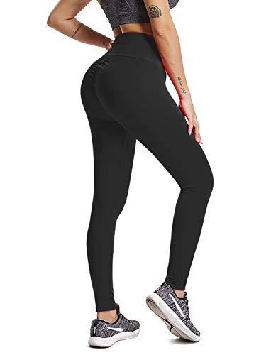 Pau1Hami1ton Leggins Mujer, Mallas Fitness Push Up Pantalones Deporte Running Yoga GP-08(Black,XL)