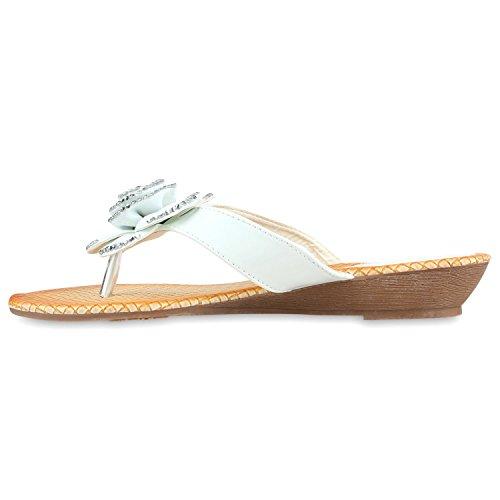 Damen Sandalen Strass Zehentrenner Beach Schuhe Weiss Blume Steinchen