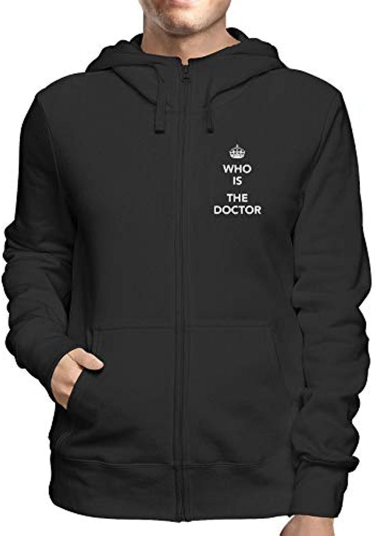 da45501d8e TShirtshock Felpa Cappuccio e e e Zip Uomo Nera TKC4188 Keep Calm And Who  IS The Doctor