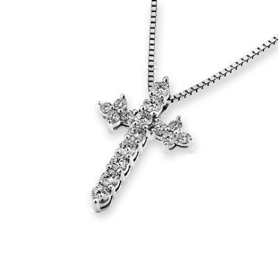 18K 750 oro bianco con diamante croce pendente su 925 argento sterling collana di 40cm (0.37cttw, G-H colore, VS2-SI1 chiarezza) - 18k Crocifisso