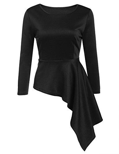 womens-o-neck-3-4-sleeve-dress-solid-slim-fit-asymmetrical-peplum-top-shirt-l-b