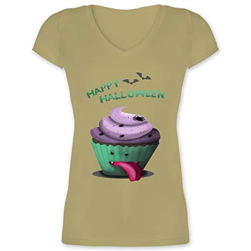 Halloween - Halloween Treats - S - Olivgrün - XO1525 - Damen T-Shirt mit V-Ausschnitt
