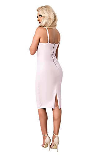 Women's Ladies Stunning Faux Leather Bodycon Party Celeb Dress pink