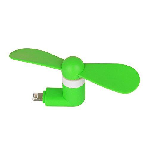 Aohro USB Telefon Mini Ventilator Portable Micro USB Mini-Lüfter mit zwei Blättern für Apple iPhone 7/7 plus/6/6S & 6 Plus/6s Plus & iPhone 5/5S, iPad Air - Grün