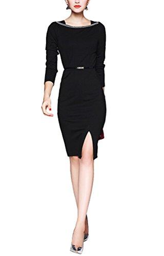 Brinny Élégante Femme OL Robe Crayon perle col ronde Manches Longues Slim Dress Divisé Noir / Vin Rouge 5 Taille: S-2XL Noir