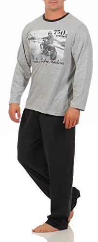 Harle Langer Schlafanzug Herren Gr. Grau Melange Fotodruck herrenpyjama Pyjama lang 100 100% Baumwolle günstige preiswerte billige günstig preiswert billig Mann pyjama herren lang