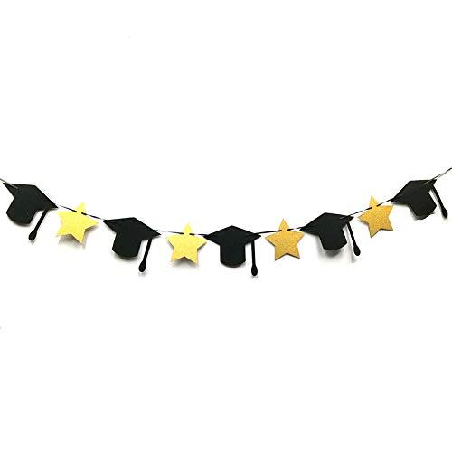 Banner, 2019 Graduate Party Supplies College Grad Banner Abitur, Glückwunsch Grad Graduierung Banner (Fünf-Stern-Doktor-Hutform) ()