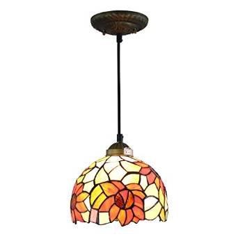 Glasmalerei Deckenleuchte (AIFUDE Pastoral Rustikale moderne 8-Zoll-Tiffany-Deckenleuchte Glasmalerei Tiffany Pendelleuchte NEW Sonnenblume-Entwurf)