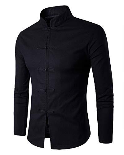 Tang Traje Hombres Tradicional Chino Ropa Trajes Hanfu Algodón Camisa De Manga Larga Abrigo Kung Fu Camisa Tops Negro XL