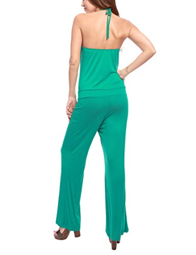 La Isla Del Sol Damen Overall Jumpsuits Con Scollo All'Americana RYV Multicolor (Royal e Verde)