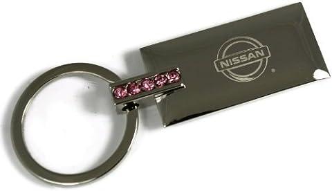 dantegts Nissan Rose Strass en cristal authentique Logo Porte-clés Porte-clés Anneau porte-clés Porte-clés avec cordon 8,3cm L x 3,2cm W