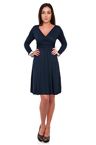 futuro fashion klassisch & Sinnvoll Damen Kleid V-Ausschnitt langärmlig Imperium 8467 Blau - Navy