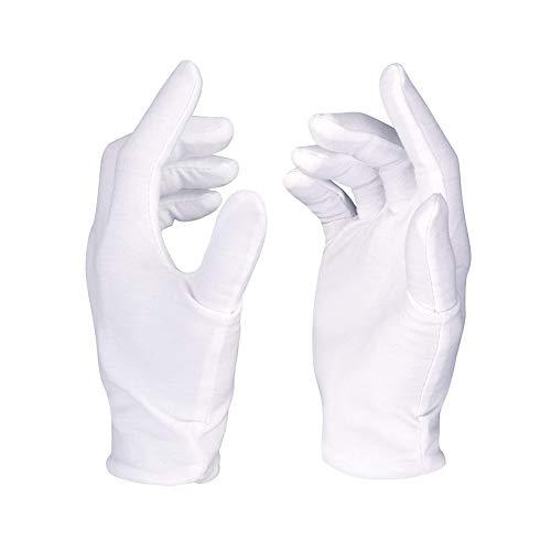 Romote Guantes de algodón Blanco Pack-8 Guantes