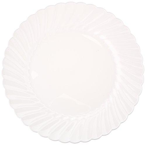 Wna 18 fils Classicware Plastique cannelé plate, 19,1 cm, Blanc