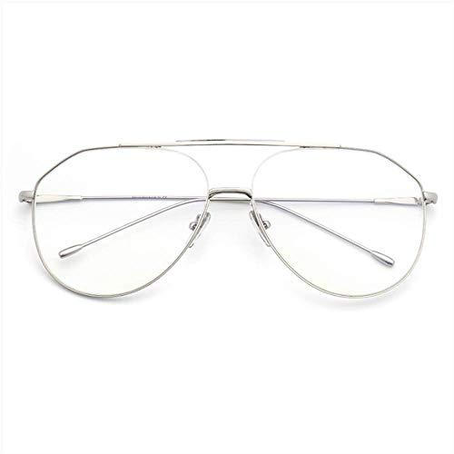 SUHXS Brillengestell Weiblich Retro Runder Rahmen Langes Gesicht Brille Big Box Pilot Myopie Männer