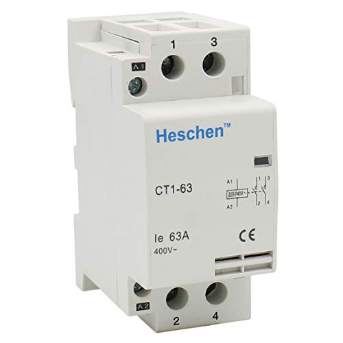 Heschen Haushalt AC Schütz CT1-63 2-polig zweipolig offen 220V/230V Spulenspannung 35mm DIN-Schienenbefestigung -