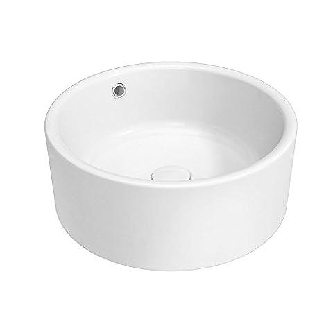 Korpusbad® rundes Aufsatzwaschbecken Waschschale München302 mit Überlauffunktion in weiß | Maße: BTH: 415x415x170 mm | mit NANO-Oberflächenversiegelung | Material: Keramik | Waschbecken Waschtisch