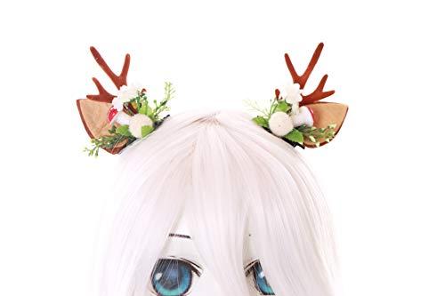 Prinzessin Fairy Gothic Kostüm - Kawaii-Story C-56-3 Mini REH Rentier Geweih mit Ohren Blumen Pilz Blätter Fairy Wald Fee Fantasy Kopfschmuck Haar-Clips Gothic Lolita LARP