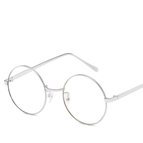 Mkulxina Anti-Blue-Light-Brille Retro Runde Metall Unisex Flache Brillen für Frauen Männer (Color : Silver, Design : Clear Lens)