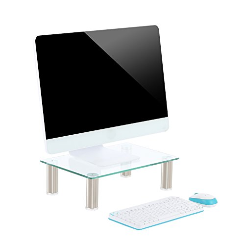 TAVR Glass Monitor Stands Screen Riser for Computers, Laptops & TVs 39 x 26cm CM2002