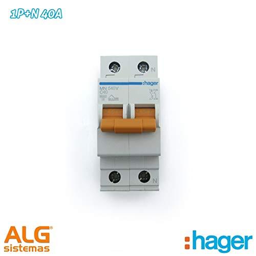 Hager Serie MN - Interruptor automático MN unipolar +Neutro 40a Curva-c