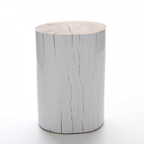 Gervasoni Log Beistelltisch, holz seiten weiß lackiert ca. Ø28-32cm, H42cm