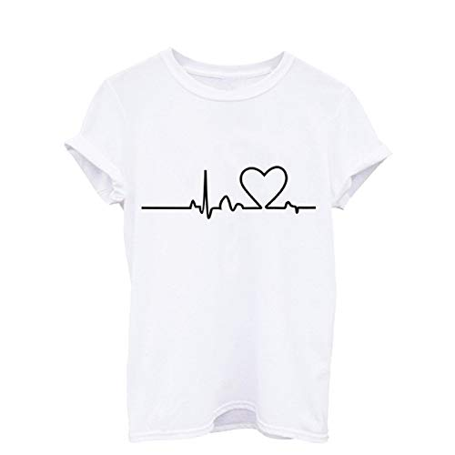 Barlingrock Tops Frauen Elektrokardiogramm Print Kurzarm Bluse T-Shirt