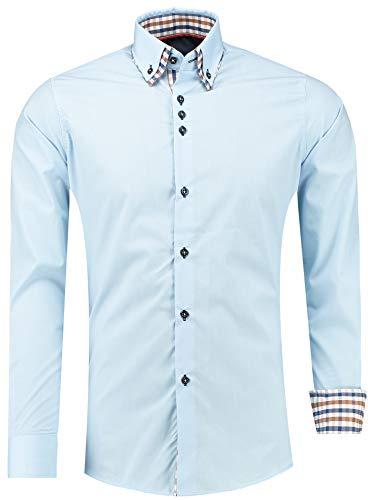Barbons Herren Hemd - Slim - Fit - Langarm - Premium Bügelleicht Hemden für Business, Freizeit, Hochzeit, Party für Männer - Blau/Doppelcollar mit innen Kariertmuster XXXL
