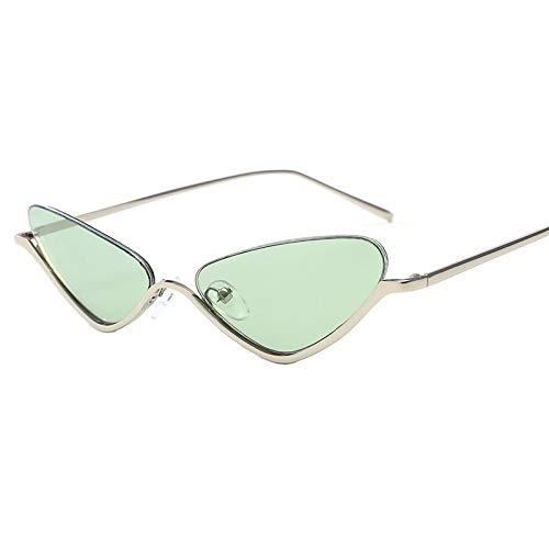 HDJC Sonnenbrillen kleine ovale weibliche Retro Enge Metall konkave Form Sonnenbrille Flache Spiegel für Outdoor-Sportarten,Green