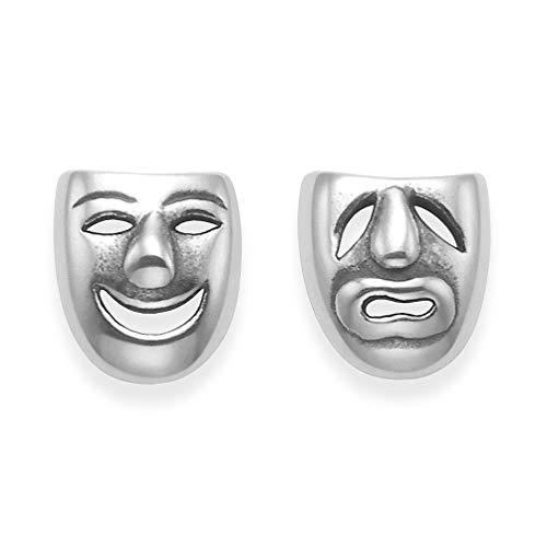 Plata Ley Pendientes De entramado máscaras teatro-tamaño: