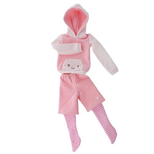 MagiDeal Schöne Katze Ohr Hoodie Outfit, Kleider, Hosen und Socken, Puppen Sammlung - Rosa