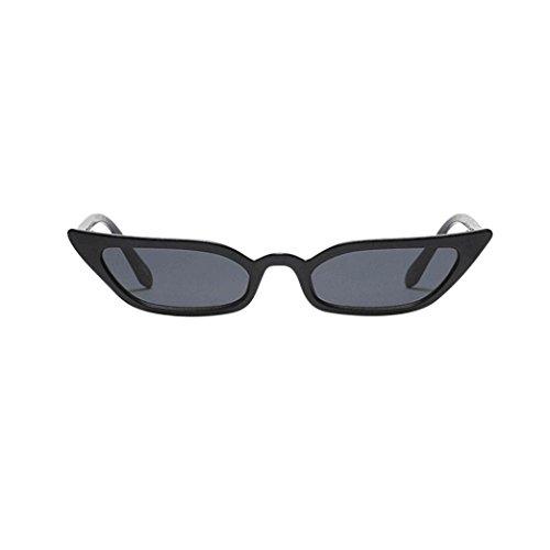 Lenfesh Frauen Vintage Katzenaugen-Sonnenbrille Retro kleine Rahmen UV400 Brillen Mode Damen (Schwarz)