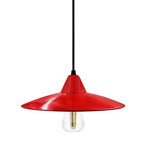 Lampara-de-Techo-Lampara-Colgante-LED-Roja-Metal-Moderna-Vintage-con-Pantalla-Lampara-Roja-y-Bombilla-LED-8W-E27-de-Comedor-Cocina-Salon-Oficina-con-Portalampara-E27-de-Enuotek