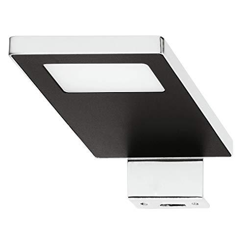Gedotec LED Anbauleuchte Spiegel-Leuchte 12V Schrankleuchte LOOX 2033 Stahl verchromt - schwarz | LED-Leuchte kaltweiß 4000 K | Aufbauleuchte IP44 geprüft | 1 Stück - Möbelleuchte zum Schrauben