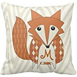 Monogramed Stylized Fox Pillow Case