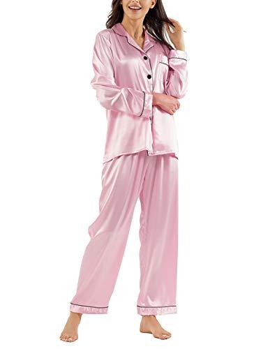 GAESHOW Damen Satin Schlafanzug Lang Pyjama Set Elegant Hausanzug Loungewear Seide Sleepwear Set(Pink,S)