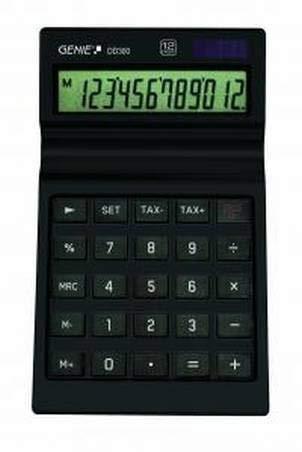 Genie DD 300 12-stelliger Tischrechner (Dual-Power (Solar und Batterie)) schwarz