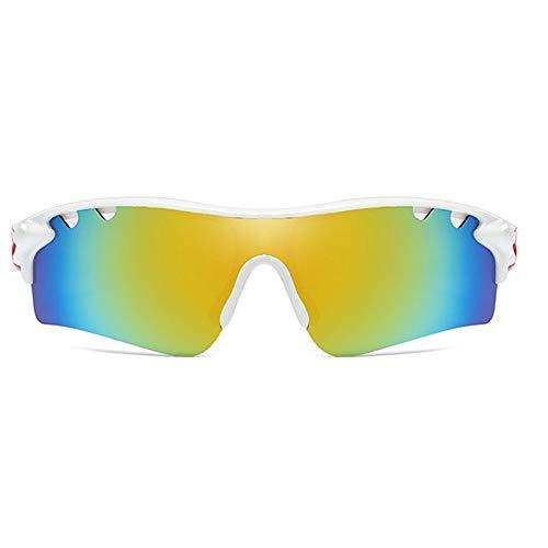 Weiß/Orange Rahmen Gelb Grün Objektiv Trend Männer und Frauen mit der gleichen Sonnenbrille Fahren PC-Material Polarized Sports Outdoor Riding UV400 Sonnenbrille Brille (Farbe : White)