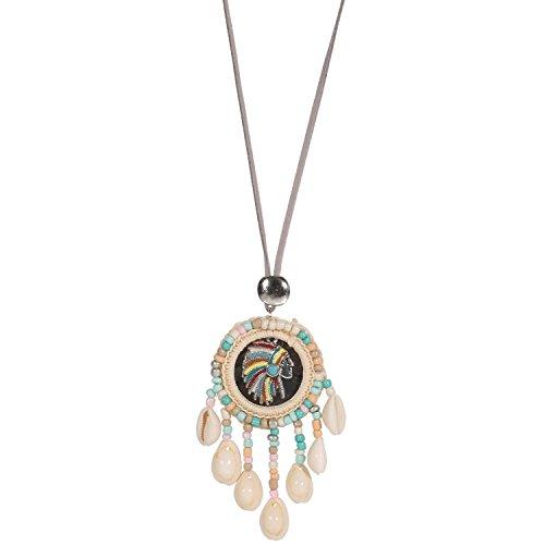 Conchiglie e Rocaille-Capo indiano-Fantasy collana con ciondolo in metallo argento anticato, camoscio/Tessuto, Specchio