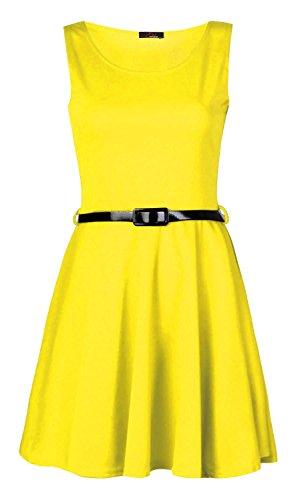Fast Fashion Damen Kleid Plain Sleeveless Belted Ausgestelltem Skater Gelb