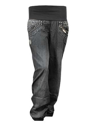 Exciteclothing Womens Plus Size Denim Harem Jeans Elasticated Ribbed Waistband Ladies Brand New, Black, UK 26
