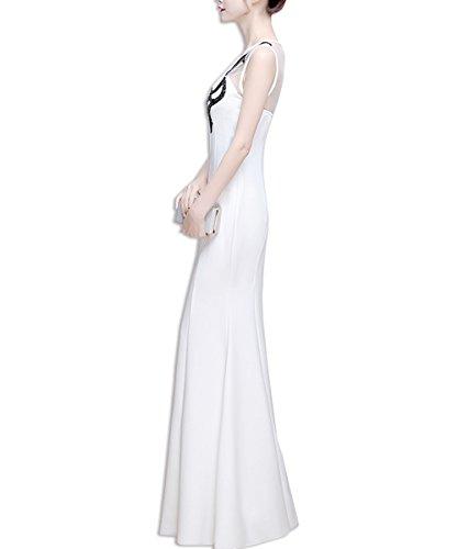 KAXIDY Donna Maxi Vestito Lunghe Elegante Senza Maniche Vestiti da Sera Bianco