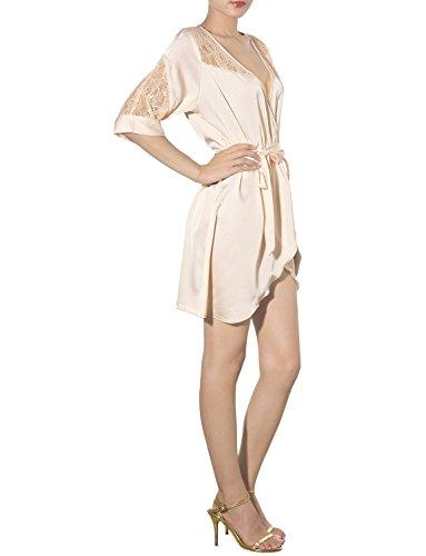 iB-iP Damen Seidig Glatte Schulter Spitzen Ausschnitt Hemdchen Knielang Robe Beige