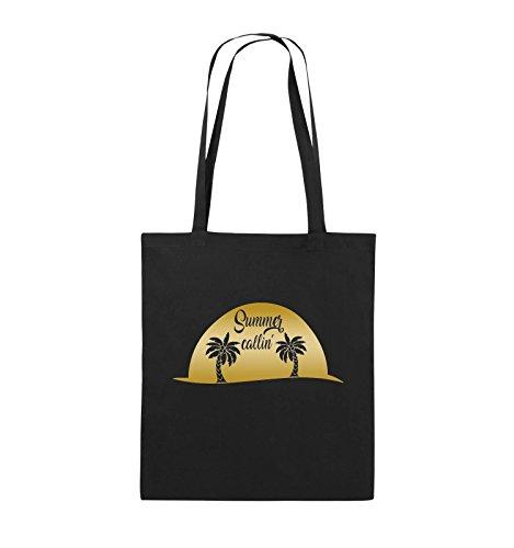 Comedy Bags - Summer callin - PALMEN - Jutebeutel - lange Henkel - 38x42cm - Farbe: Schwarz / Silber Schwarz / Gold