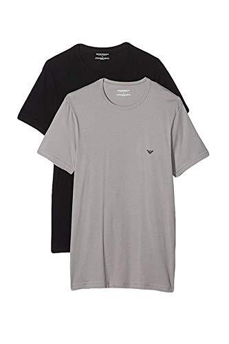 Emporio Armani Herren T-Shirts Crew-Neck Stretch Cotton Kurzarm 111267-CC717 2er Pack, Farbe:Mehrfarbig, Menge:2er Pack , Größe:L, Artikel:-13742 Grey/Marine