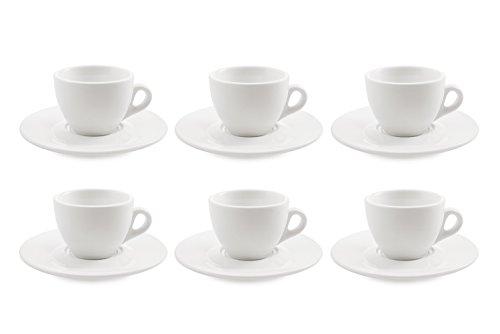 Galileo Casa Blanco Juego de Taza y Tetera de 6 Tazas con Platillo de Porcelana