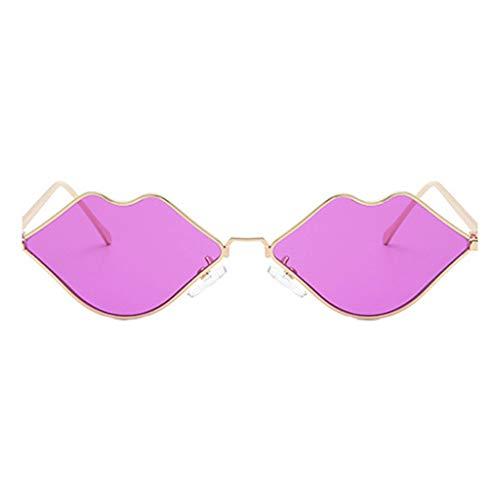 Plzlm Lippenform-Sonnenbrille-Frauen-Metall-Legierung Rahmen Shades PC Objektiv Sexy Mouth-Augen-Gläser Zubehör