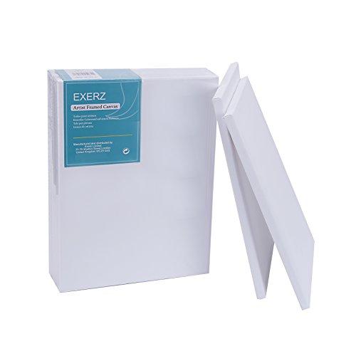 Exerz E5309-3040-5 Packung mit 5 - Keilrahmen/Leinwand/Gerahmte Kunstleinwände / 40 x 30cm 280GSM/ Vorgespannt 100% Baumwolle/Blank/dreifach grundiert/Ohne Säure/mittelkörnig / 1.7cm dick