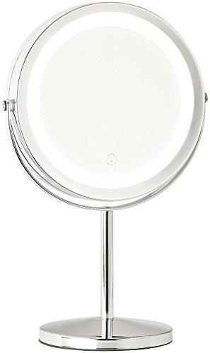 Sichler Beauty LED Spiegel: LED-Kosmetikspiegel, 2 Spiegelflächen, Akku, 3X / 7X Vergrößerung (Kosmetikspiegel mit LED Licht)